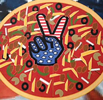 graphic of pizza with hand making peace sign
