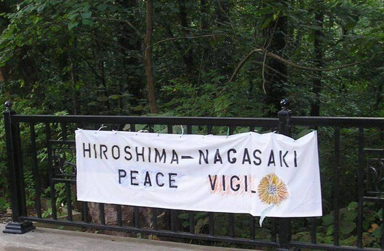 banner for Hiroshima/Nagasaki Peace Vigil