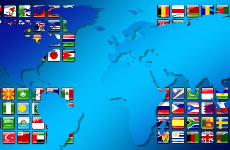 world and flags, meeting